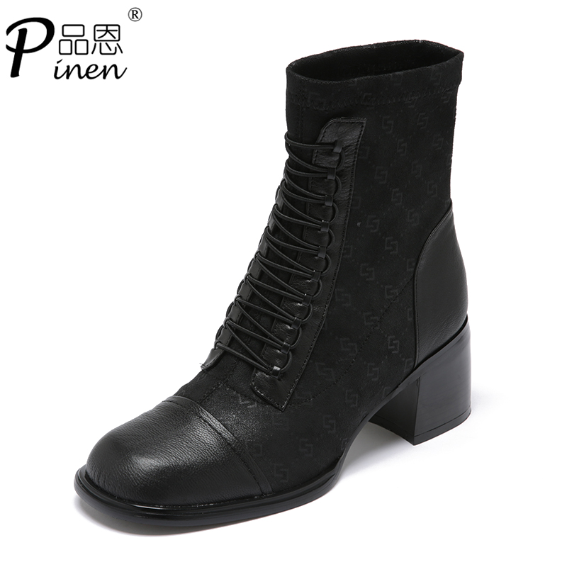 Leather thick heel single boots womens shoes autumn and winter 2020 new square thin boots middle heel elastic boots thick heel socks boots