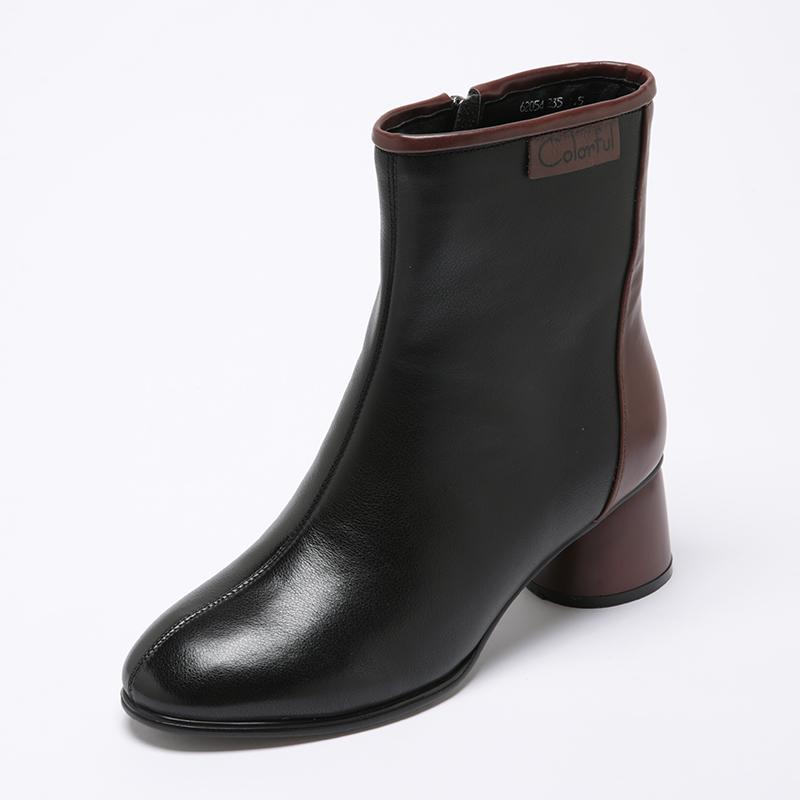 真皮中跟圆头小短靴女2020秋冬新款百搭粗跟单靴加绒棉靴子马丁靴