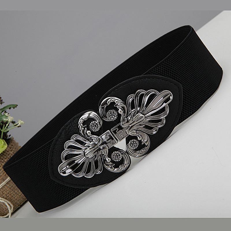 Waist dress, versatile in autumn and winter, fashionable elastic wide down jacket belt, elastic black belt, womens belt decoration