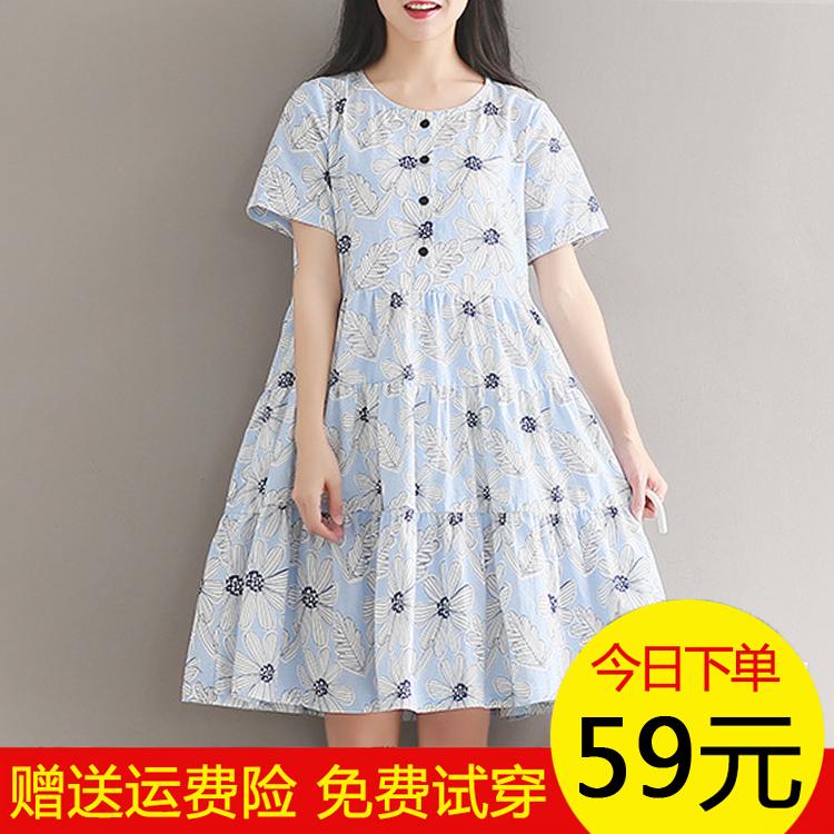 大童女装小清新宽松大码中长款棉麻连衣裙青少年胖女童日系裙夏装
