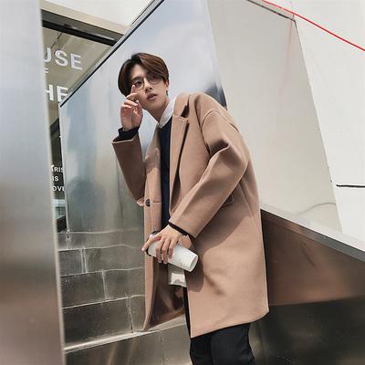 男士风衣帅气中长款韩版毛呢大衣外套宽松 F21-P120(控价158)