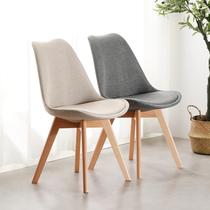 北欧伊姆斯实木椅软学习办公书桌椅靠背餐椅简约懒人化妆家用凳子