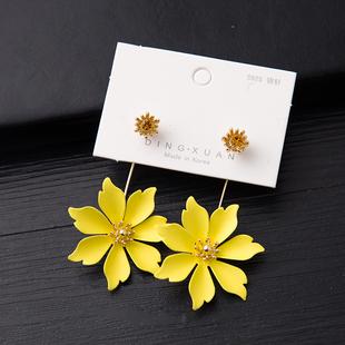 2020夏季日韓夏季新品黃色花朵耳環氣質清晰時尚簡約唯美耳釘耳飾