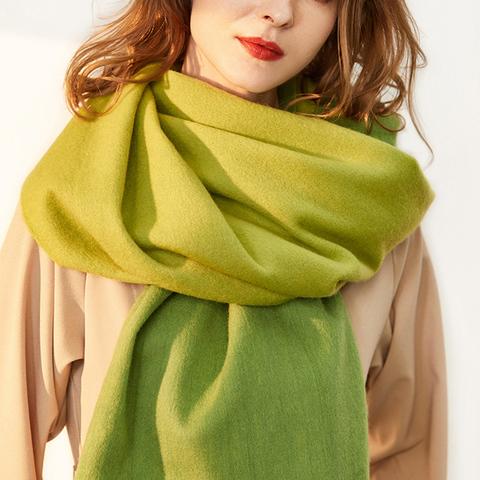 凯米尔酷纯羊毛围巾女士新款加厚双面大披肩秋冬两用长款韩保暖
