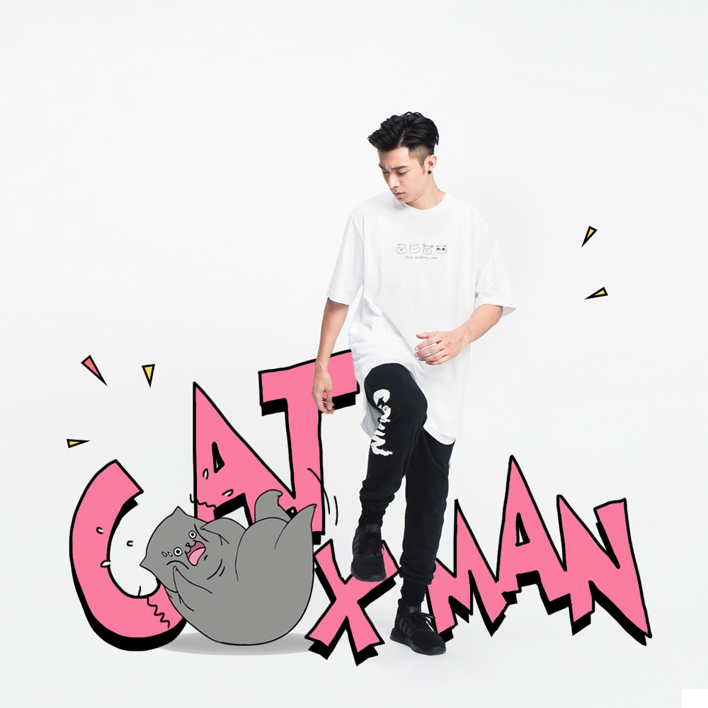 周柏豪 CATXMAN & FRIENDS BLACK CREW NECK TEE