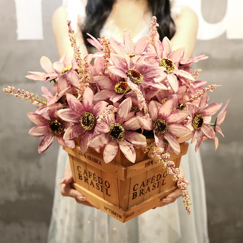 美式复古仿真假花束盆栽怀旧木艺摆设客厅装饰品家居塑料绢花摆件