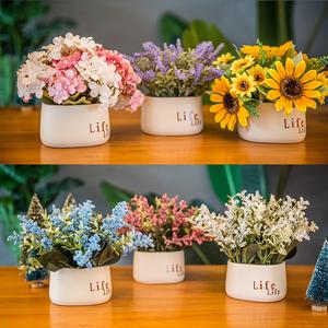 小清新室内客厅仿真假花束玫瑰摆件餐桌茶几装饰塑料干花盆栽植物