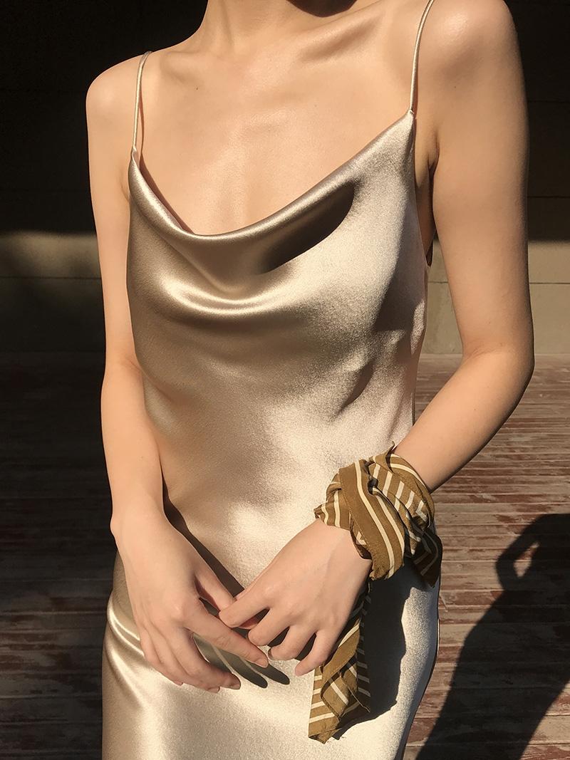 MASA重磅日本进口三醋酸45度斜裁真丝荡领修身缎面吊带连衣裙女长