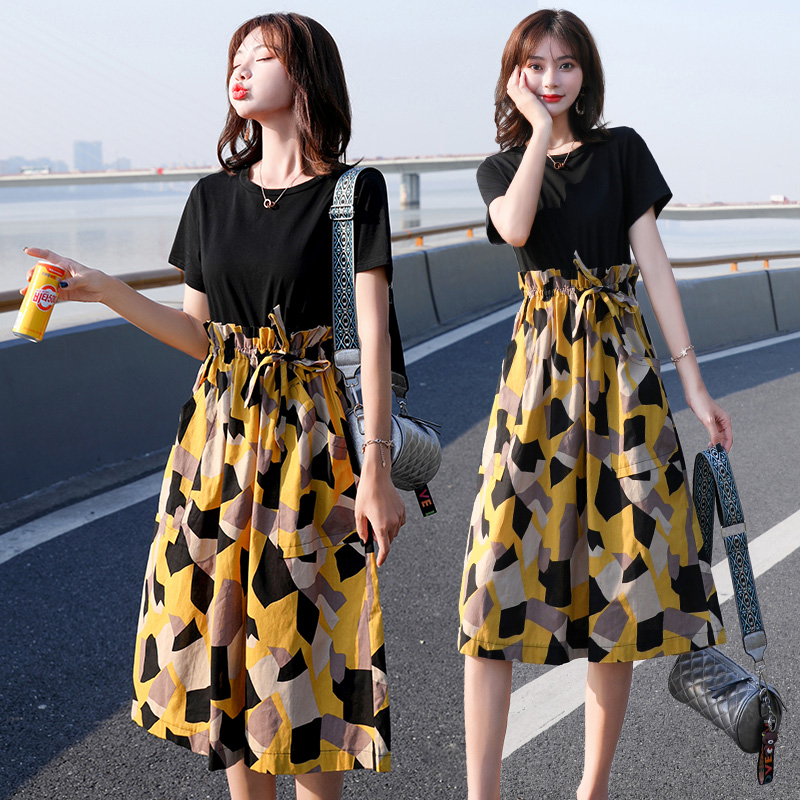 Spring and summer 2020 womens Korean fashion dress fashion comfortable medium length personalized long skirt flower breaking point