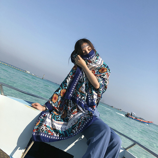 新款民族風披肩圍巾女夏兩用百搭棉麻空調海邊旅游防曬絲巾沙灘巾