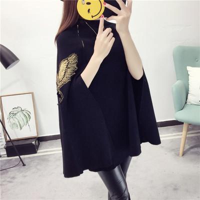 女装圆领斗篷毛衣中长款上衣蝙蝠衫春秋装外套宽松针织衫女秋冬装