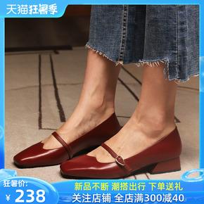 欧可迪小香风单鞋女2020春季新款百搭牛皮粗跟一字带网红玛丽珍鞋