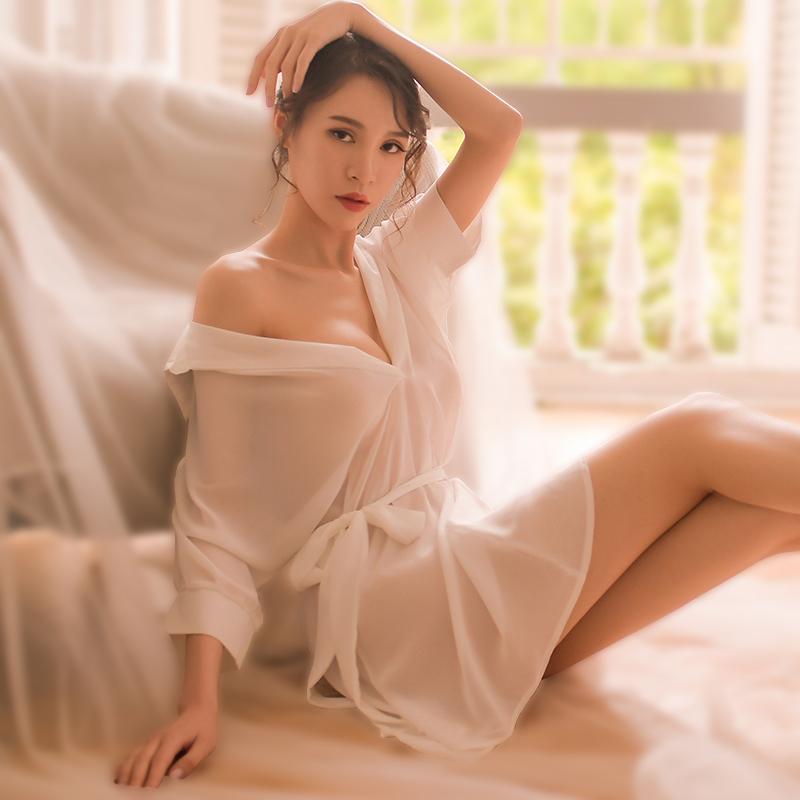 透内衣情趣睡衣欧美性感骚挑逗床上火辣男友衬衫女宽松慵懒风睡裙