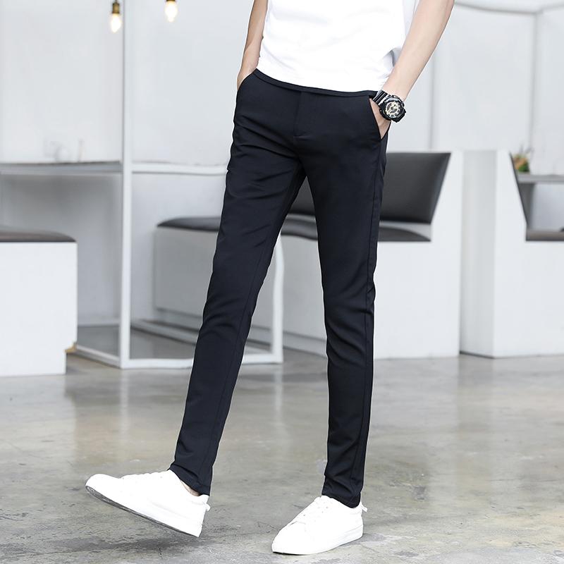 休闲长裤男青年时尚男裤2020年秋季裤子韩版修身小脚男士潮流西裤图片