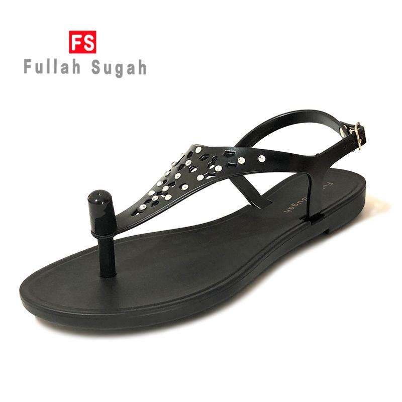 Fullah sugah white diamond 2020 summer new comfortable womens clip foot beach flat bottom anti-skid sandals