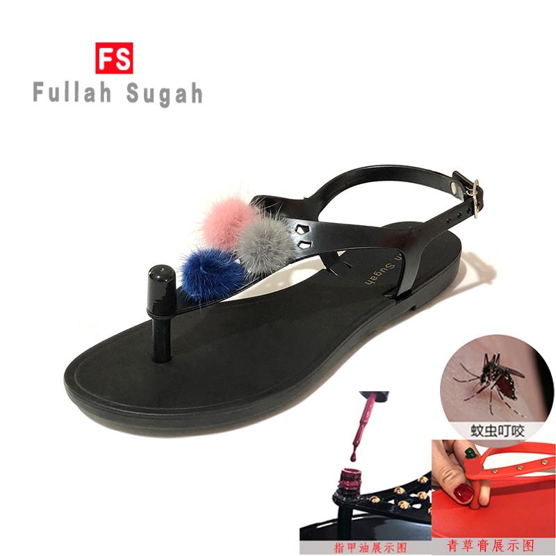 Fullah sugah new summer comfortable fashion versatile season wool ball flat bottomed beach non slip toe sandals women