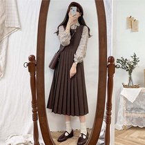 Autumn and winter New Year clothes tall and thin girls wear clothes dress goddess sister suit heart belt skirt wild dress