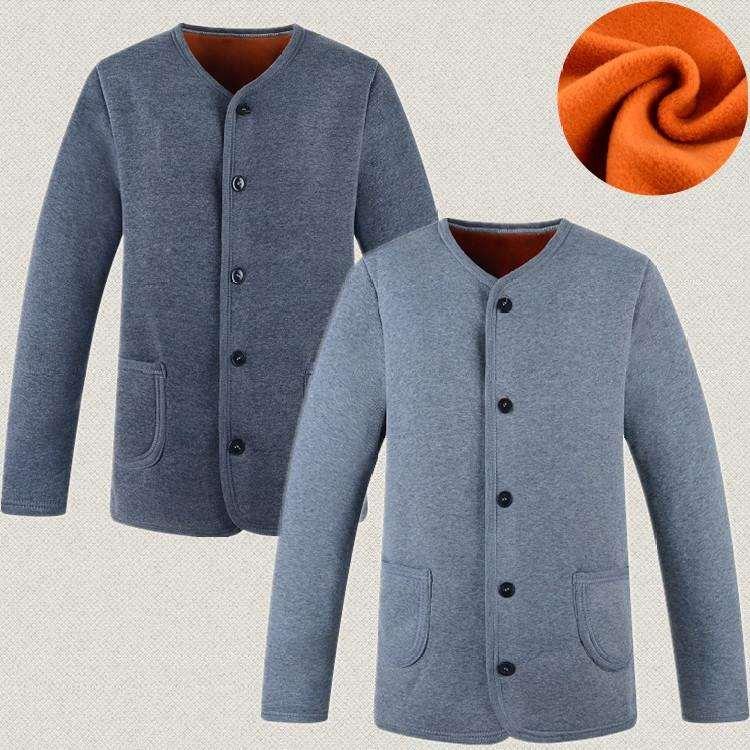 套装老人色秋冬纽扣棉质加大码中老年人开衫保暖内衣男女士冬天