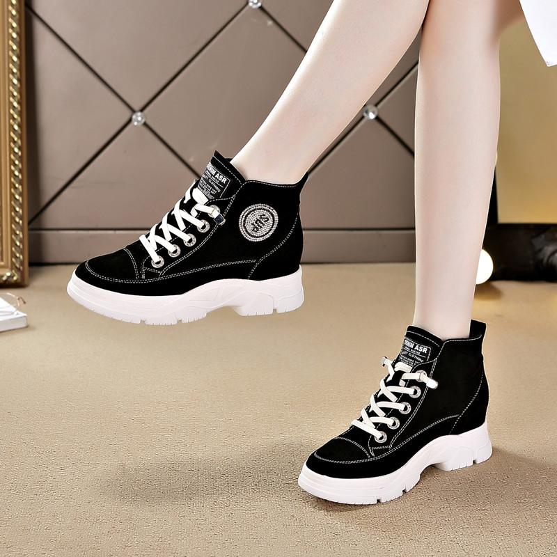 真皮内增高女鞋短靴2021春秋新款休闲韩版坡跟百搭加绒马丁靴子女