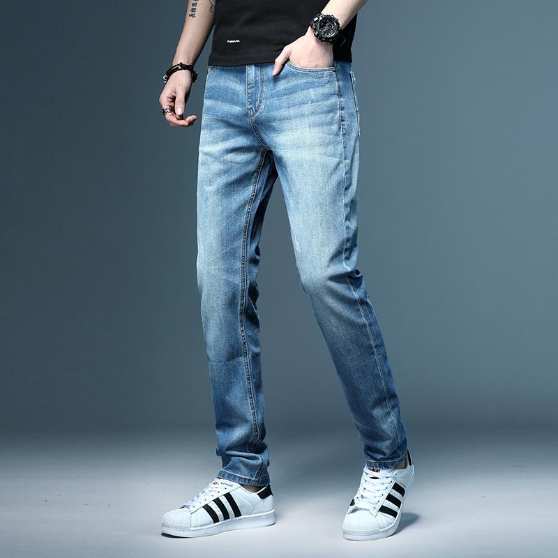 2020春夏新款男裝高端牛仔褲男修身直筒淺色彈力寬松休閑長褲潮牌