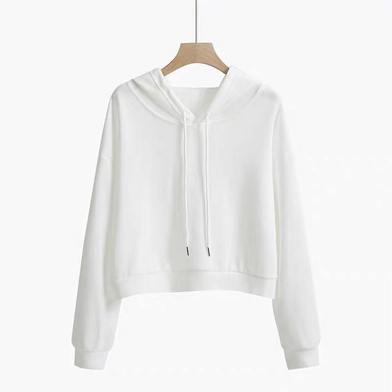 2020春秋季韩版薄款白色卫衣女短款学生连帽纯白上衣外套宽松