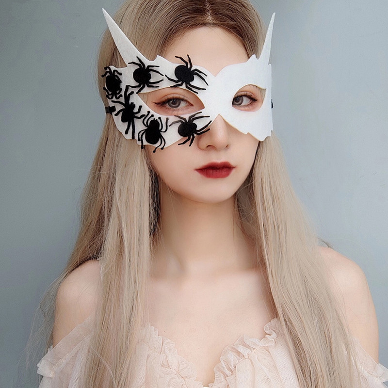 新品创意白色半脸面具万圣蜘蛛恶魔面具角色扮演服装道具男女假面