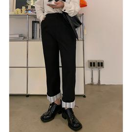李潇洒胖mmOL风脚口条纹翻边显瘦休闲西装裤女装秋大码宽松直筒裤