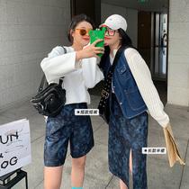 李潇洒胖mm海苔系列扎染开叉半身裙+休闲短裤2件套女春季大码套装