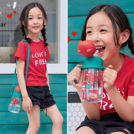 杯具熊儿童水杯吸管杯宝宝幼儿园防摔小学生水壶夏季可爱卡通杯子