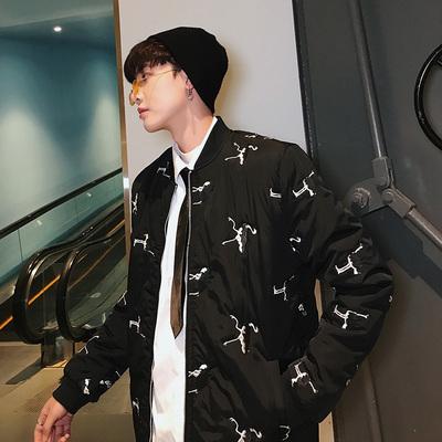 2018冬装新款港风时尚刺绣男士棉袄外套韩版修身棉服 MY61-P75