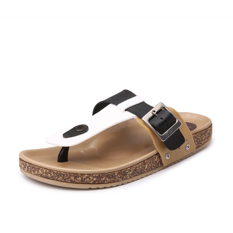 Couples flip flop European and American flip toe cork shoes for men and women in summer