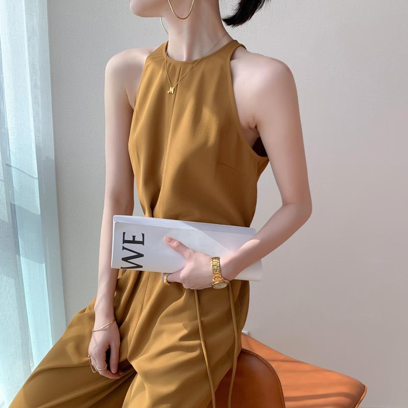 姜黄色连体裤女装气质高腰显瘦2021年新款夏季阔腿连身长裤连衣裤