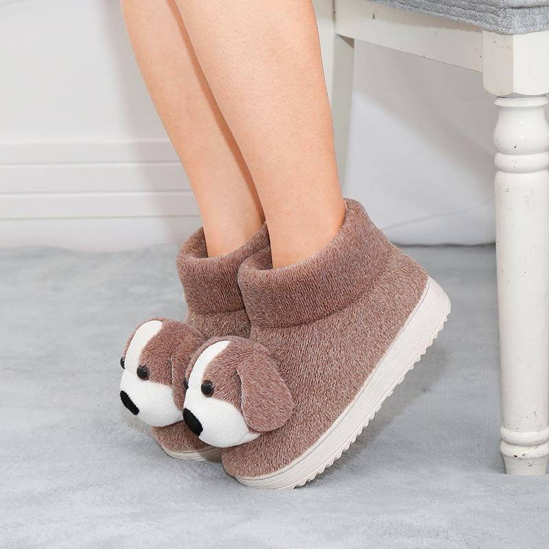冬天厚底保暖棉拖鞋女鞋子包跟毛绒室内外穿月子冬季情侣可爱儿童
