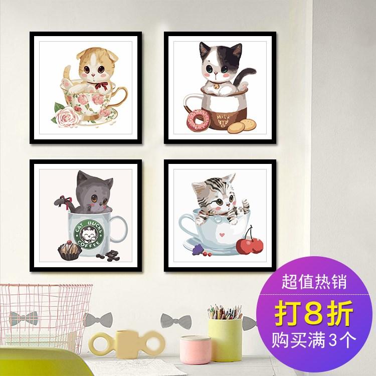 券后88.80元diy数字油画儿童卡通动漫简单填色萌宠动物小猫手绘装饰画油彩画