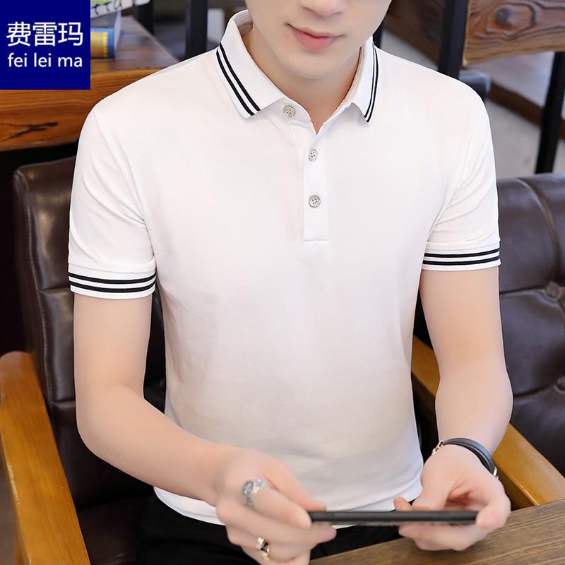 纯棉t恤男短袖POLO衫休闲春夏季上衣服保罗有带领丅恤黑白色半袖