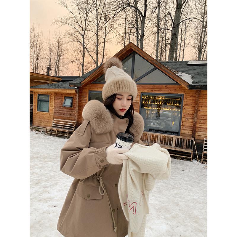 张贝贝ibell 韩版收腰显瘦毛领工装羽绒服中长款女冬加厚百搭外套