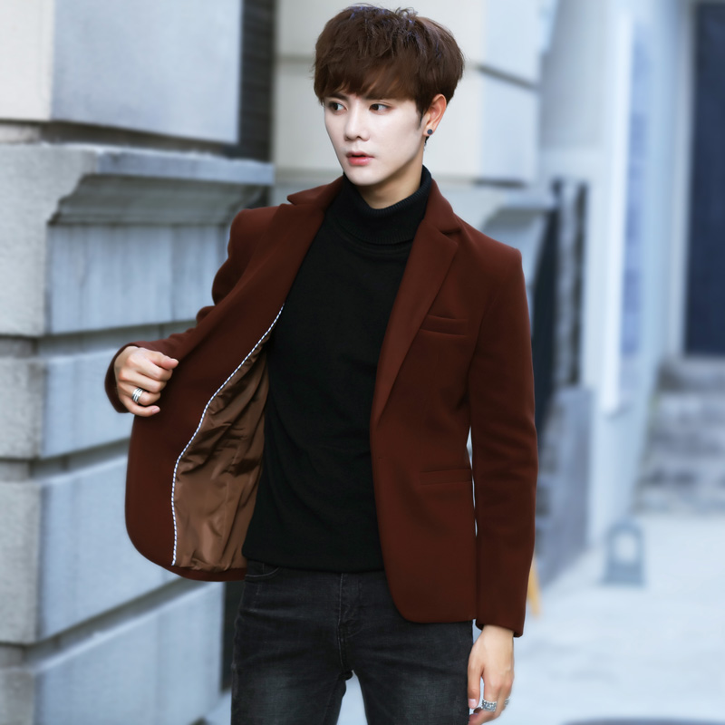 男士毛呢小西装韩版修身呢子西服青年厚外套短款妮子英伦秋冬大衣
