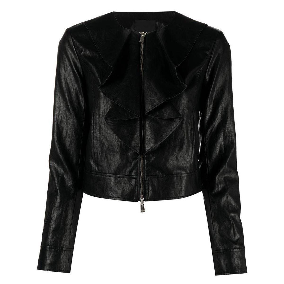 代购Pinko/品高 荷叶边饰短款夹克短外套女士2021新款奢侈品