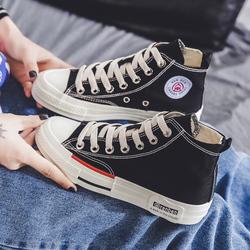 人本黑高帮帆布鞋女球鞋2020秋韩版百搭学生复古内增高休闲白板鞋