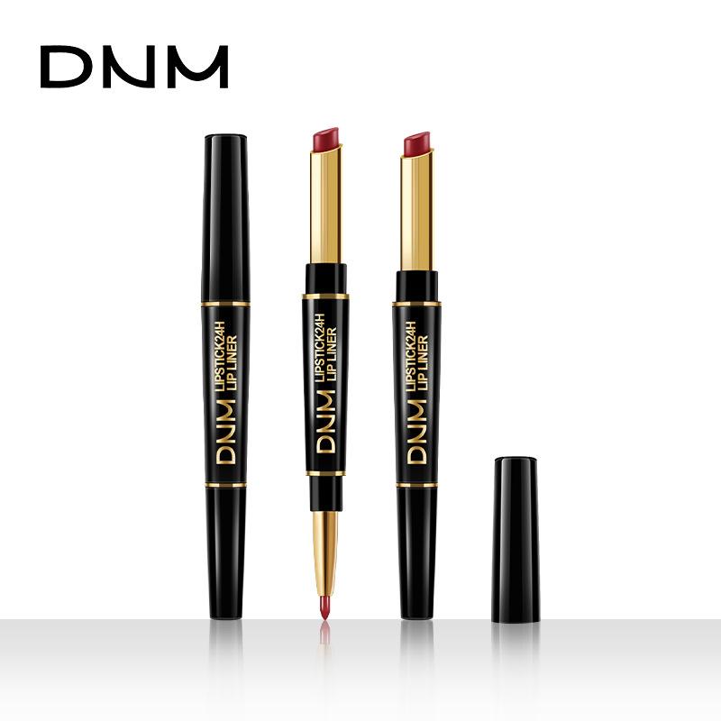 DNM双头口红唇线笔珠光哑光显色防水不脱色不沾杯朱珠推荐同款。