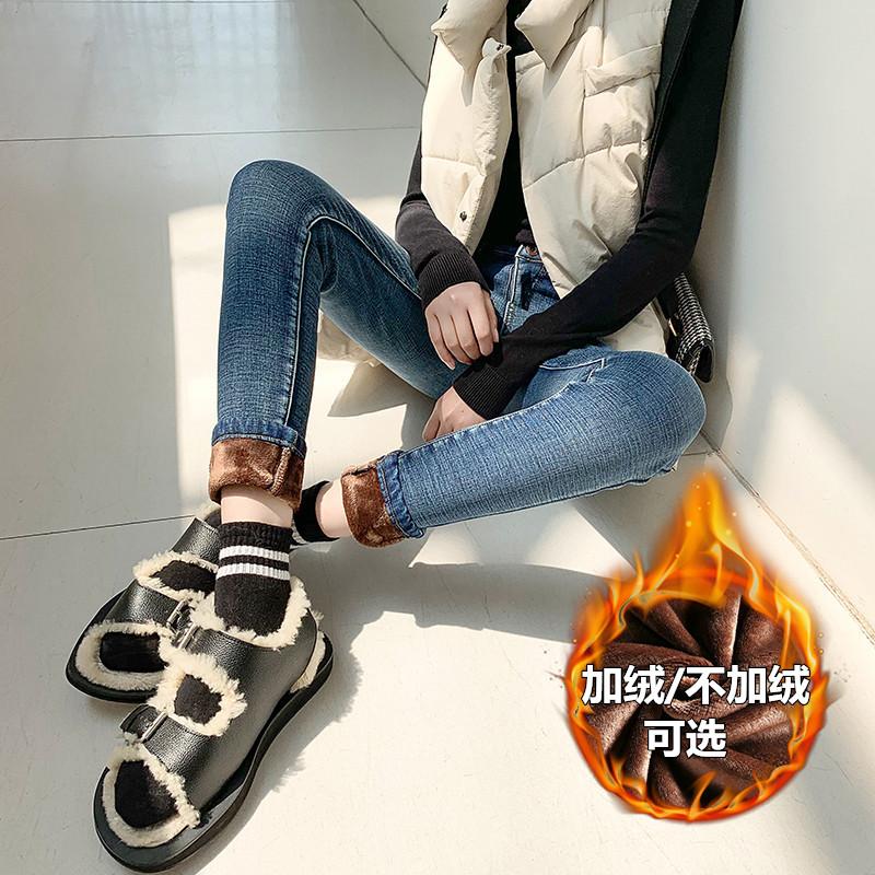 加绒牛仔裤女高腰冬季2020