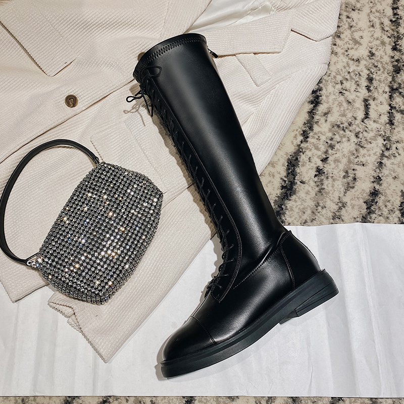 Net red Martin boots, womens British style high boots, black thin boots, autumn 2020 new style Knee Boots