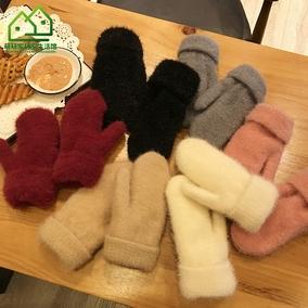 加绒软妹保暖连指冬可爱毛绒绒手套
