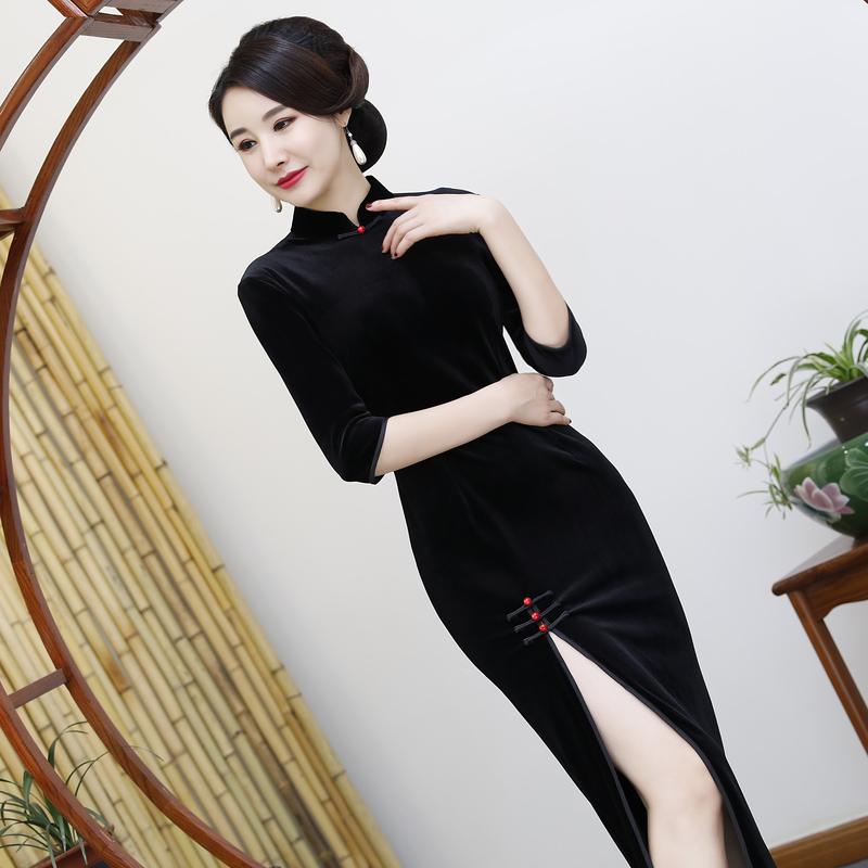 长款黑色金丝绒旗袍裙2018秋季新款女优雅显瘦端庄大气旗袍连衣裙