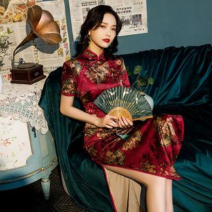 老上海旗袍年轻款 少女中国风2021新款 日常改良复古走秀连衣裙优雅