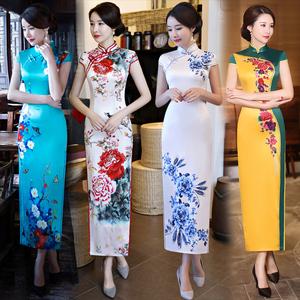 领10元券购买旗袍长款优雅年轻款少女2019新款改良复古中国风老上海走秀连衣裙