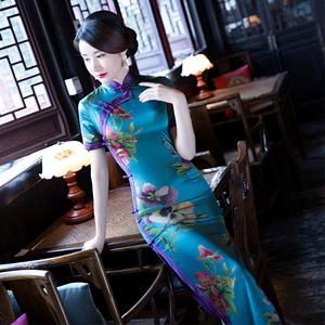 旗袍改良版连衣裙年轻款少女2020复古中国风气质长款走秀