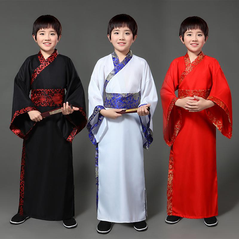 儿童古装汉服六一小男孩幼儿学生书生书童三字经朗诵表演出国学服