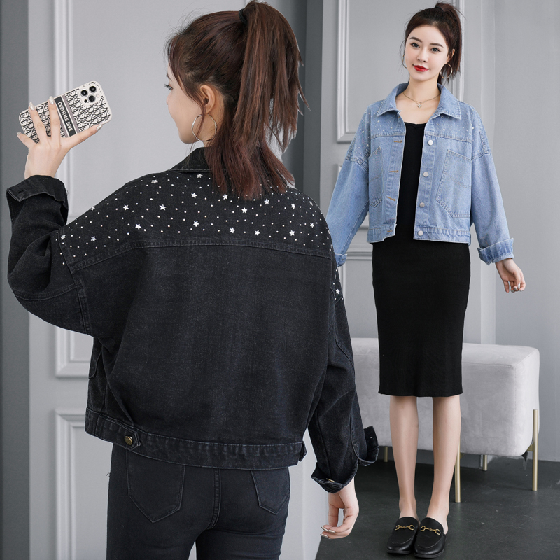 Womens clothing 2021 spring new fashion temperament goddess denim jacket short Sequin jacket girlfriends