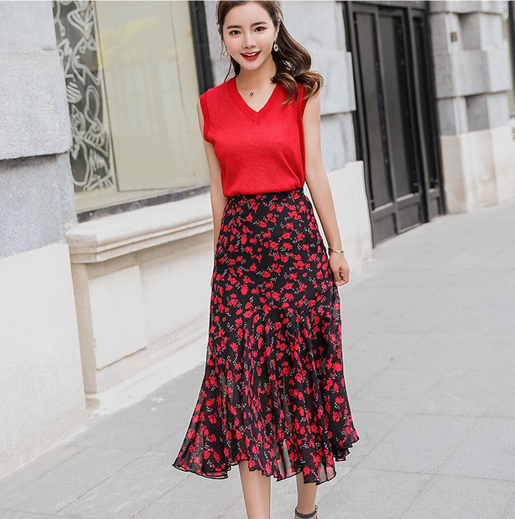 天猫女装新风尚2018夏季新款韩版无袖背心上衣碎花半身裙两件套装
